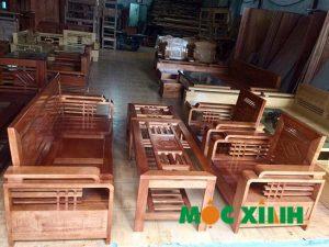 bàn ghế phòng khách gỗ Xoan Đào Lam Phi mặt liền
