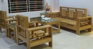Sofa gỗ tự nhiên phòng khách tựa kép triện sồi mỹ
