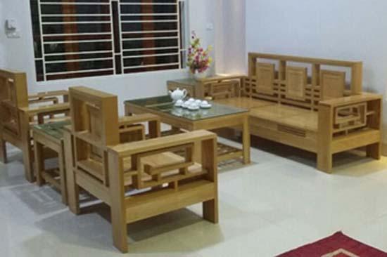 sofa gỗ phòng khách tựa kép triện sồi mỹ 1