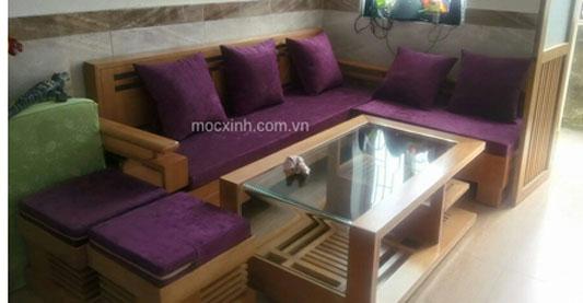 Sofa góc  tay móc kính cong sồi mỹ