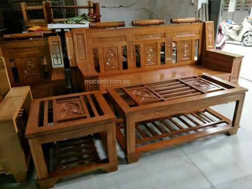 bộ bàn ghế phòng khách Như Ý sồi mỹ sơn màu xoan đào