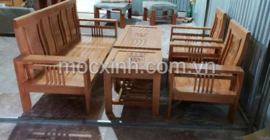 bộ bàn ghế gỗ tay đơn hoa tây