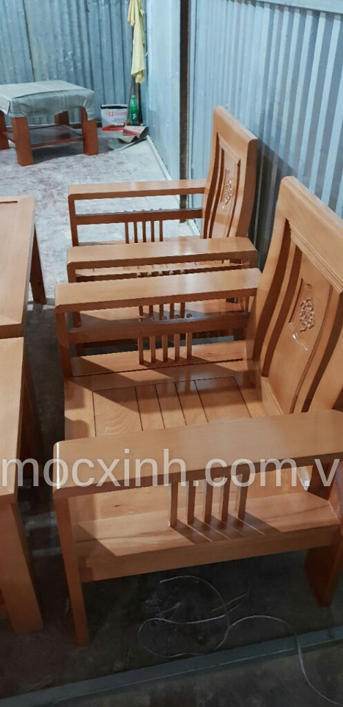 GHẾ ĐƠN  bộ bàn ghế gỗ tay đơn hoa tây