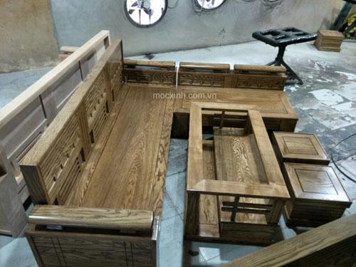 SƠN LÓT sofa gỗ hộp tựa ô nhỏ sồi nga lau màu óc chó