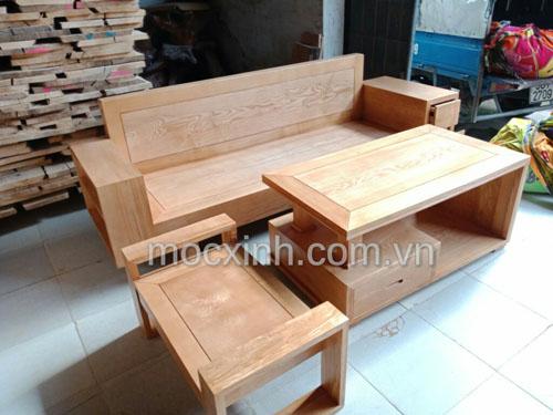 Sofa gỗ một văng tay ngăn kéo màu sáng
