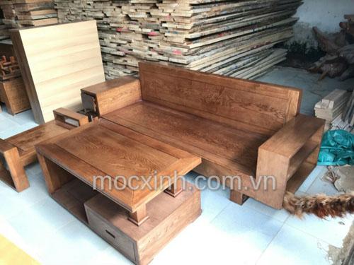 Sofa gỗ một văng tay ngăn kéo lau màu óc chó