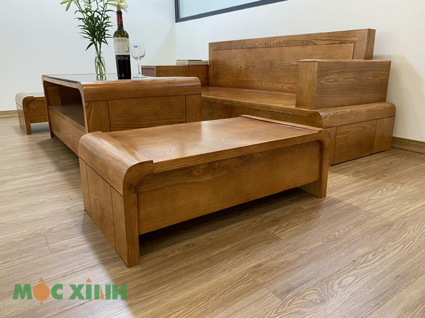 Mẫu bộ bàn ghế phòng khách gỗ sồi có thiết kế chữ U