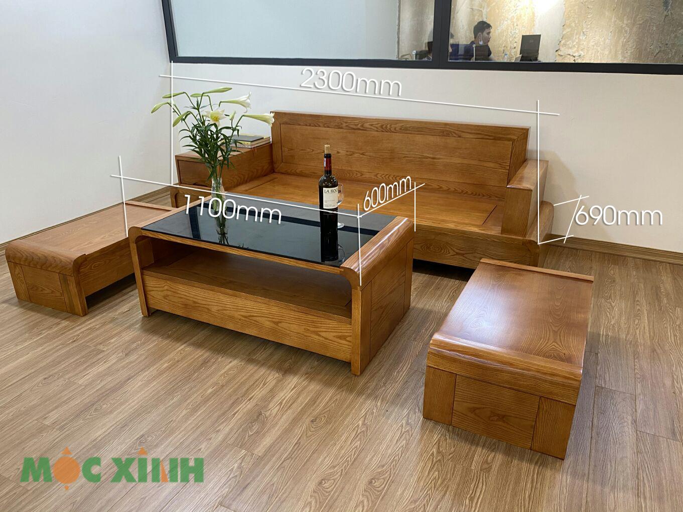 Thông số kích thước của mẫu bộ bàn ghế phòng khách gỗ sồi