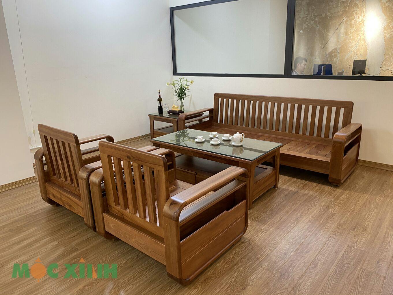 Tổng thể bộ bàn phòng khách bằng gỗ xoan đào