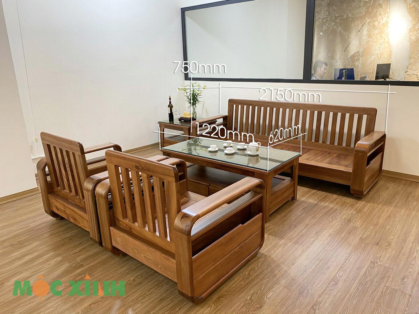Thông số kích thước của mẫu bộ bàn ghế phòng khách gỗ xoan đào