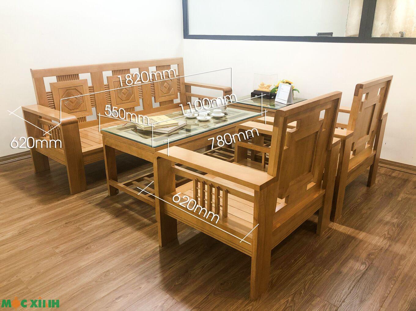 Thông số kích thước cụ thể của mẫu bàn ghế phòng khách cộng tay vòng