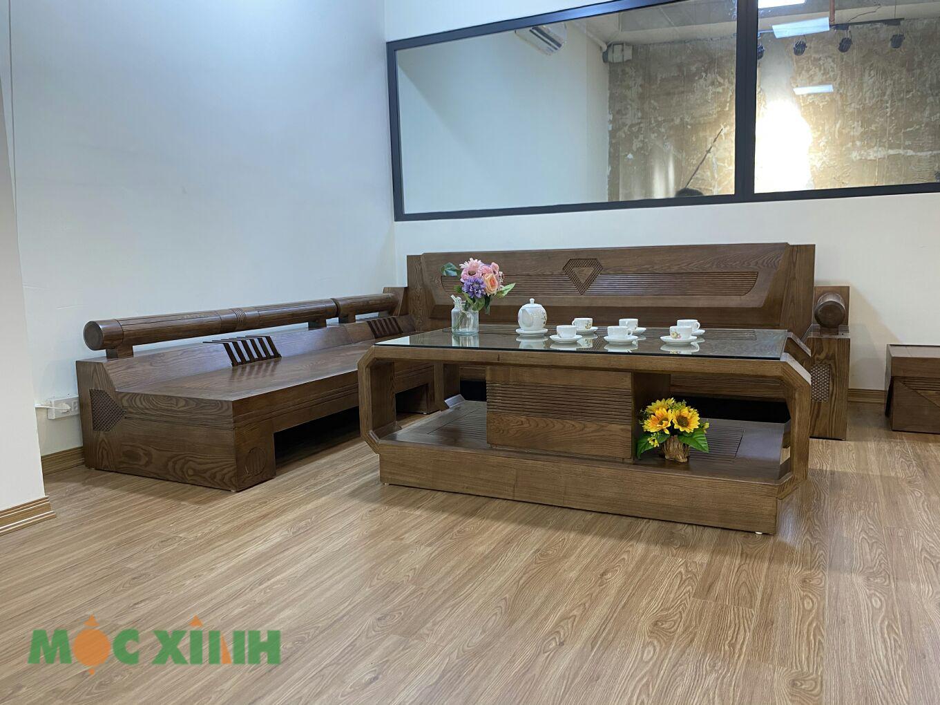 Bộ bàn ghế phòng khách gỗ sồi có vẻ đẹp sang trọng