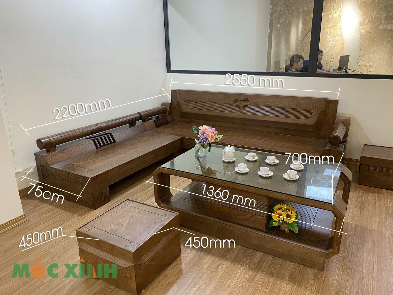 Thông số kích thước của bộ bàn ghế phòng khách gỗ sồi nga