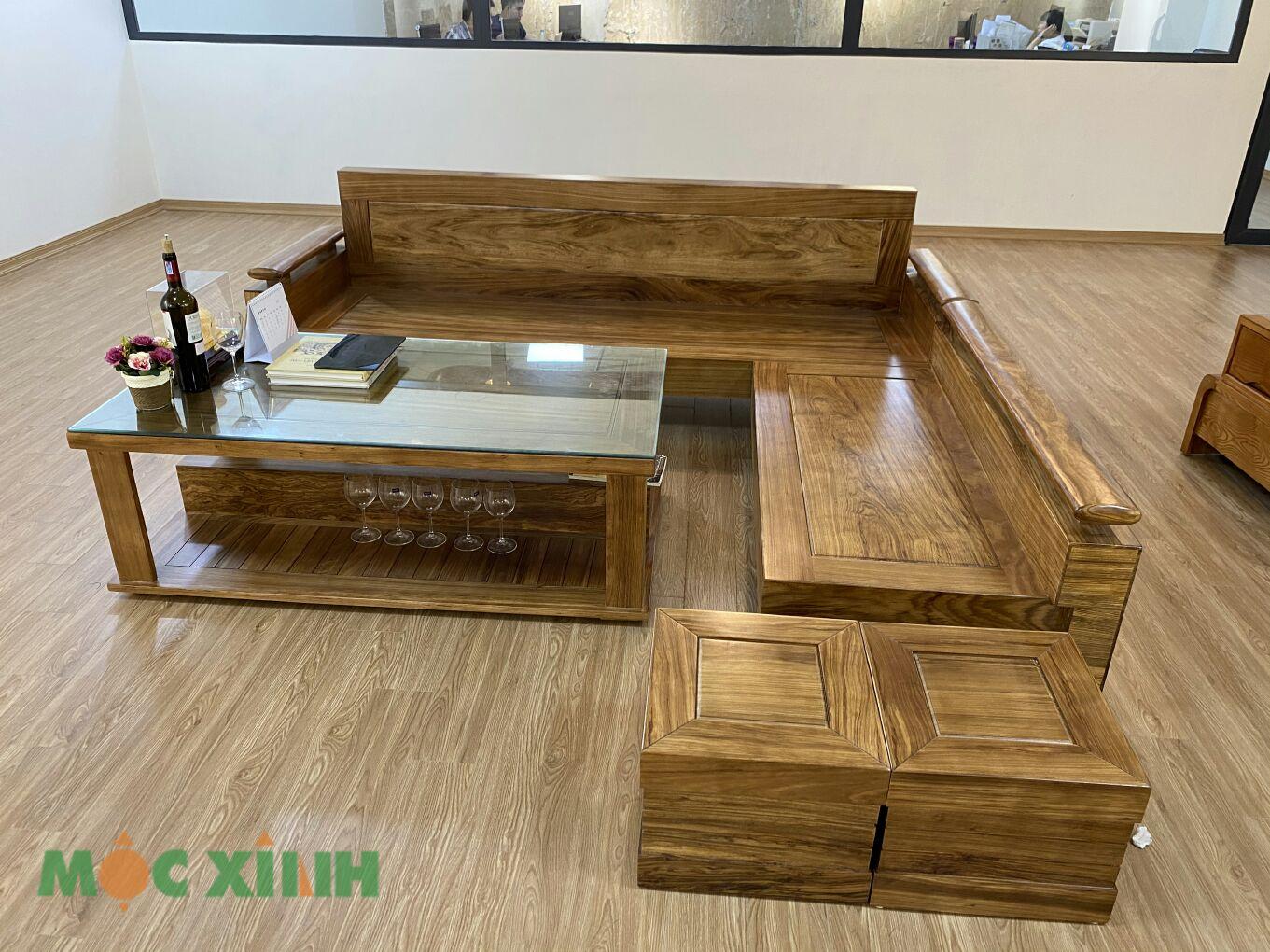 Bộ bàn ghế gỗ hương có thiết kế góc chữ L