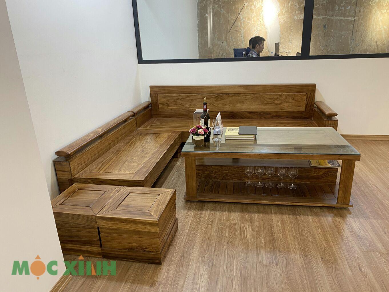 Bộ bàn ghế gỗ hương có 2 ghế đôn có thể di dời
