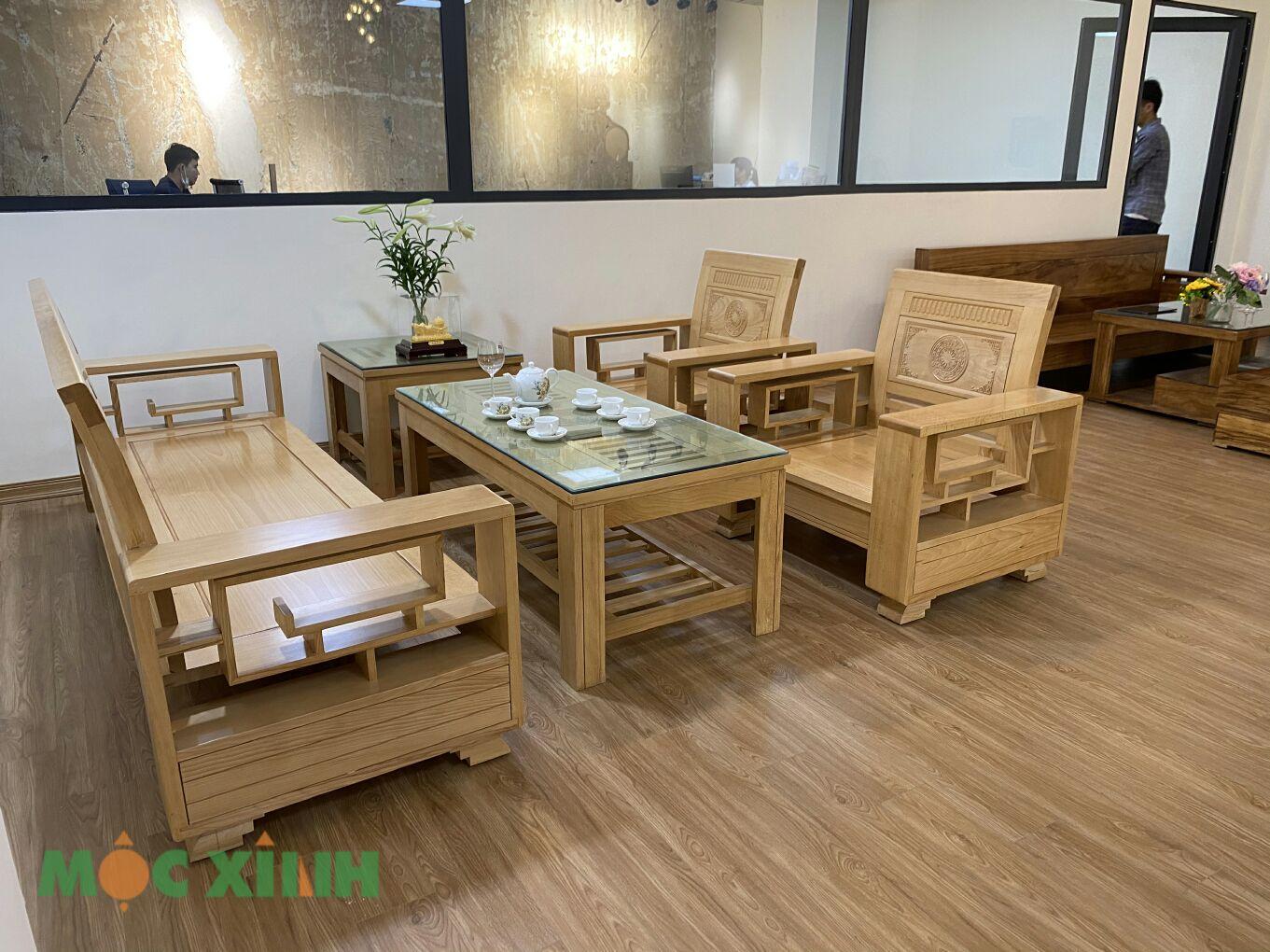 Bộ bàn ghế phòng khách gỗ sồi có thiết kế chữ U
