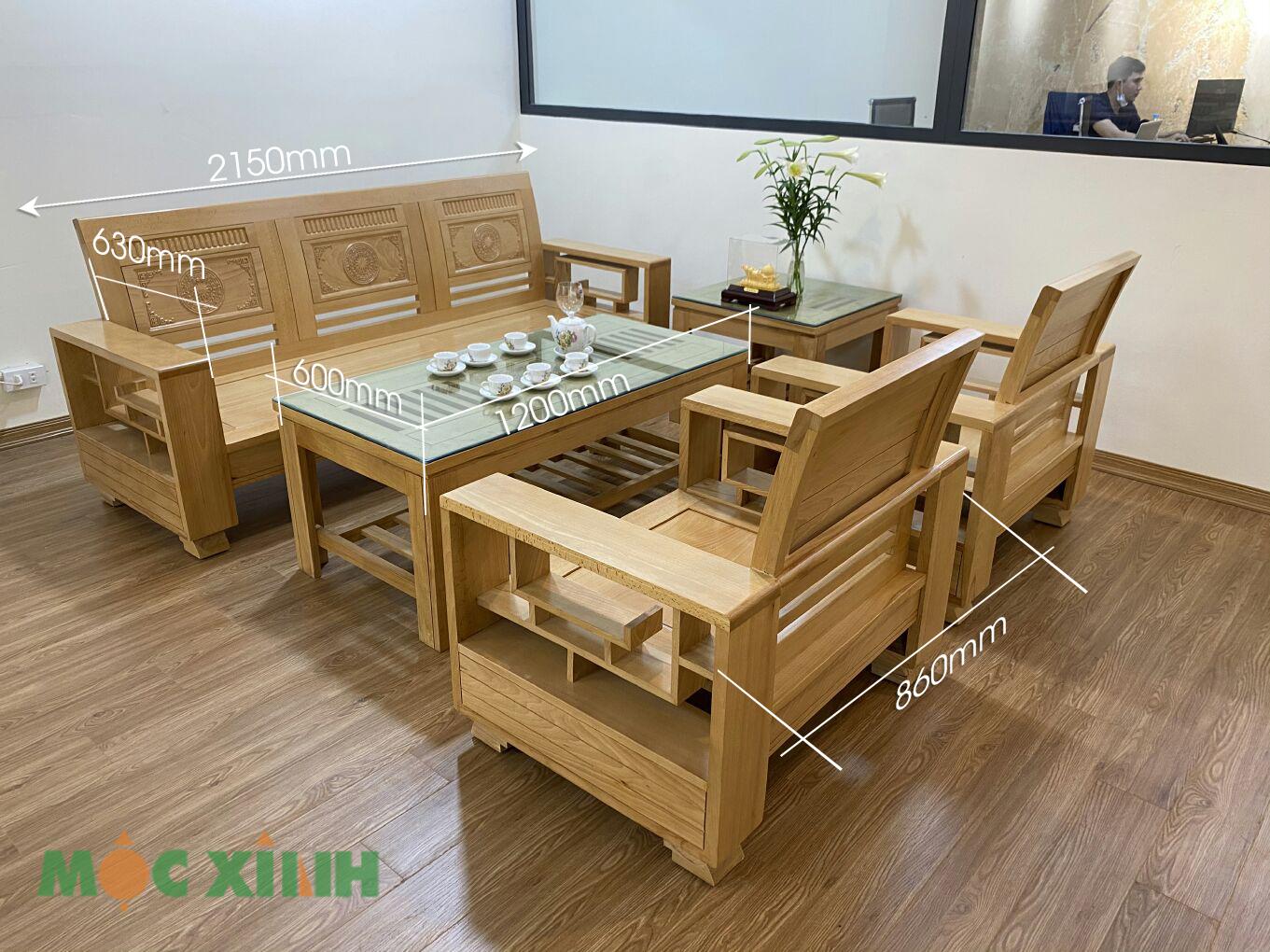 Thông số kích thước của mẫu bàn ghế phòng khách tựa cong hoa văn trống đồng