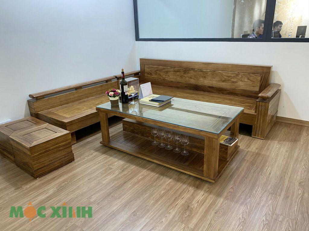 Bộ bàn ghế gỗ văng được thiết kế hình chữ L