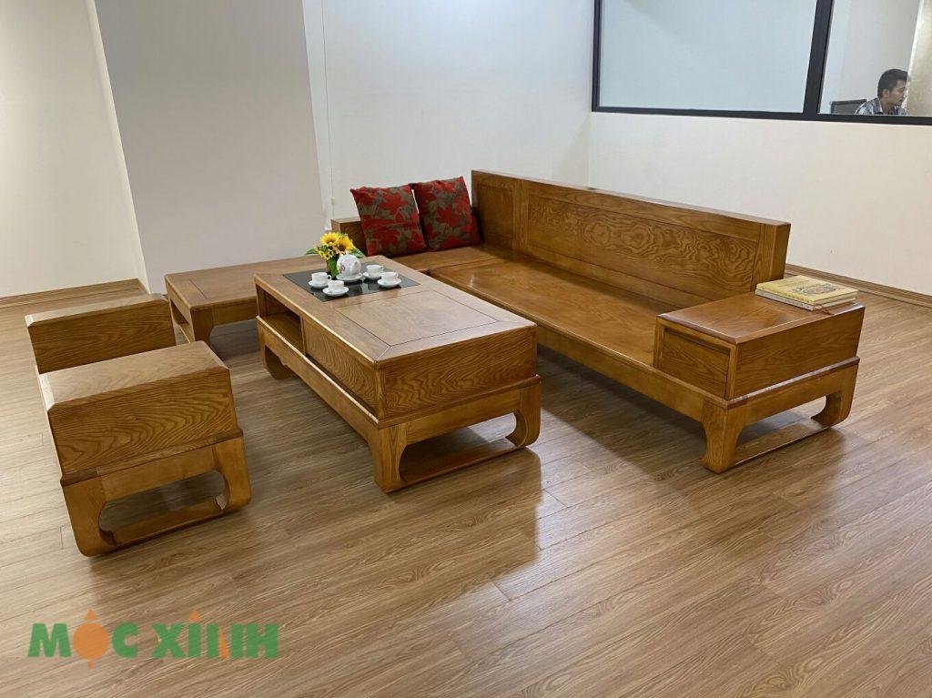 Bộ bàn ghế phòng khách có chân quỳ hộc ngăn kéo