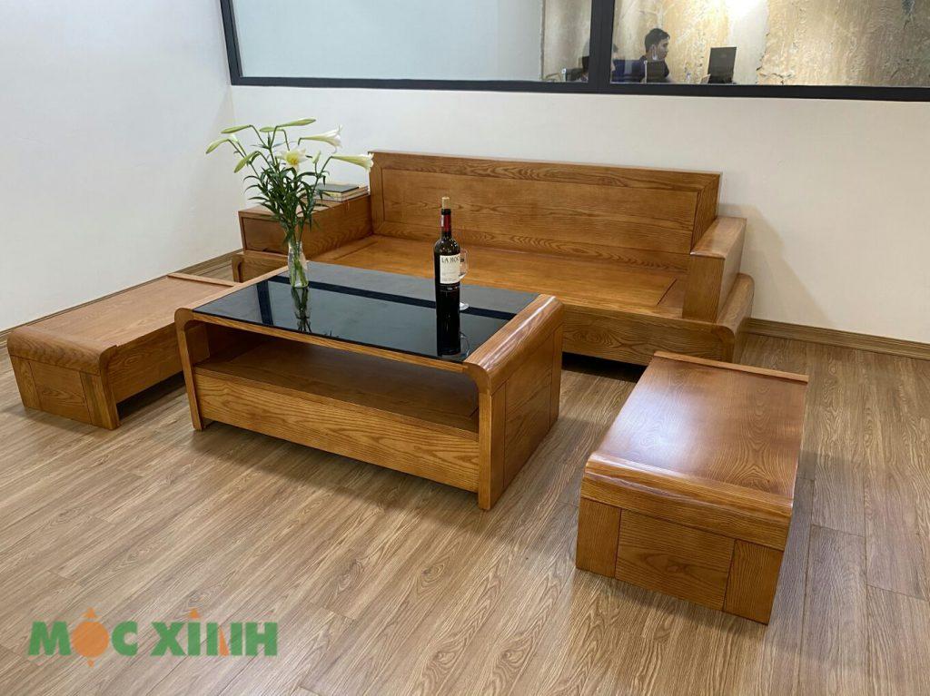 Bộ bàn ghế chữ U gỗ sồi đẹp